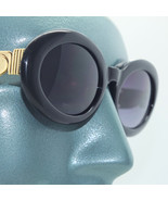 Sophisticate Sunglasses 60's Classic Chunky Oval Gold Black Frame Gray Lens - $22.00