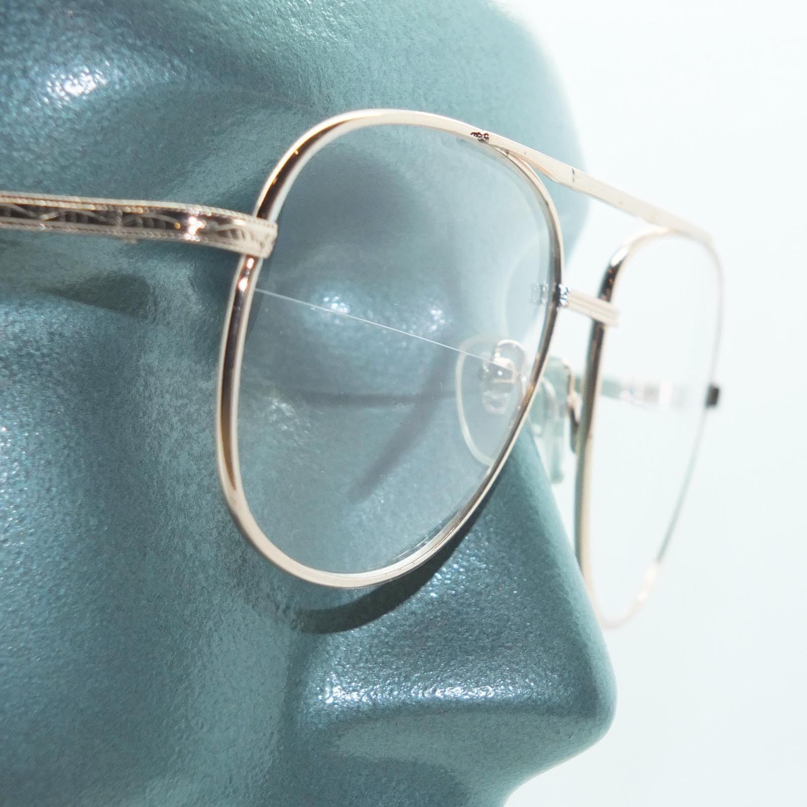 Primary image for Reading Glasses Large Man Modern Aviator Straight Bifocal Gold Metal Frame +3.00