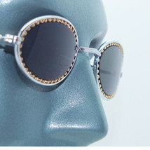 Petite Oval Beaded Frame Sunglasses Sun Shades Gold and Silver Metal - $17.00