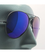 Mirror Deep Blue Lens Metal Black Frame Classic Aviator Sunglasses Sun S... - $22.00