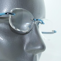 Frameless Invisible Lens Electric Blue Trim Reading Glasses +2.75 Strength - $17.00
