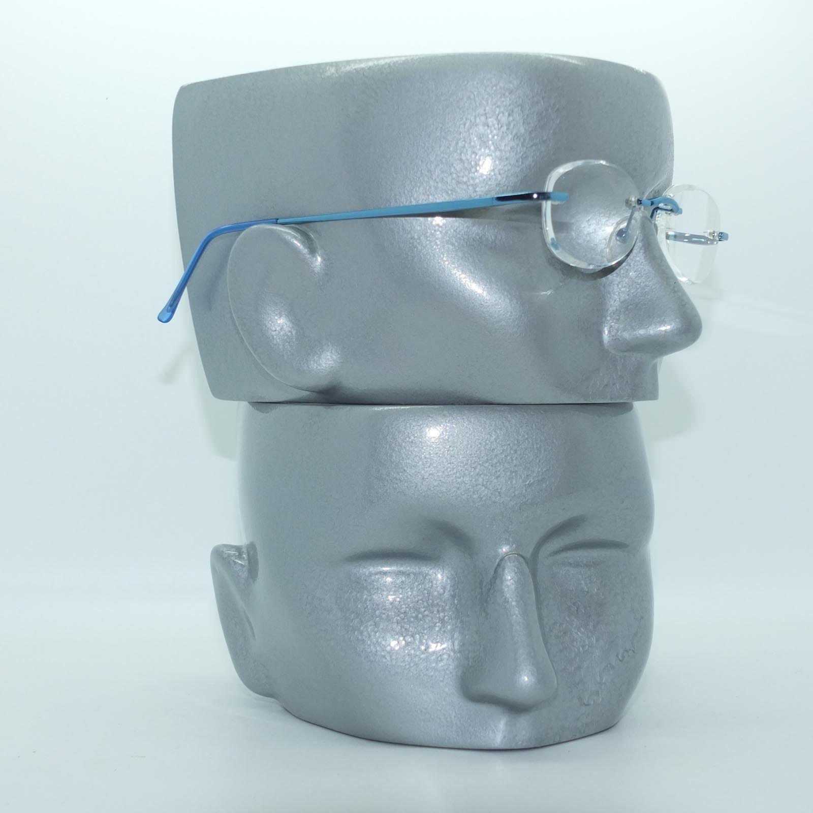 Frameless Invisible Lens Electric Blue Trim Reading Glasses +2.75 Strength