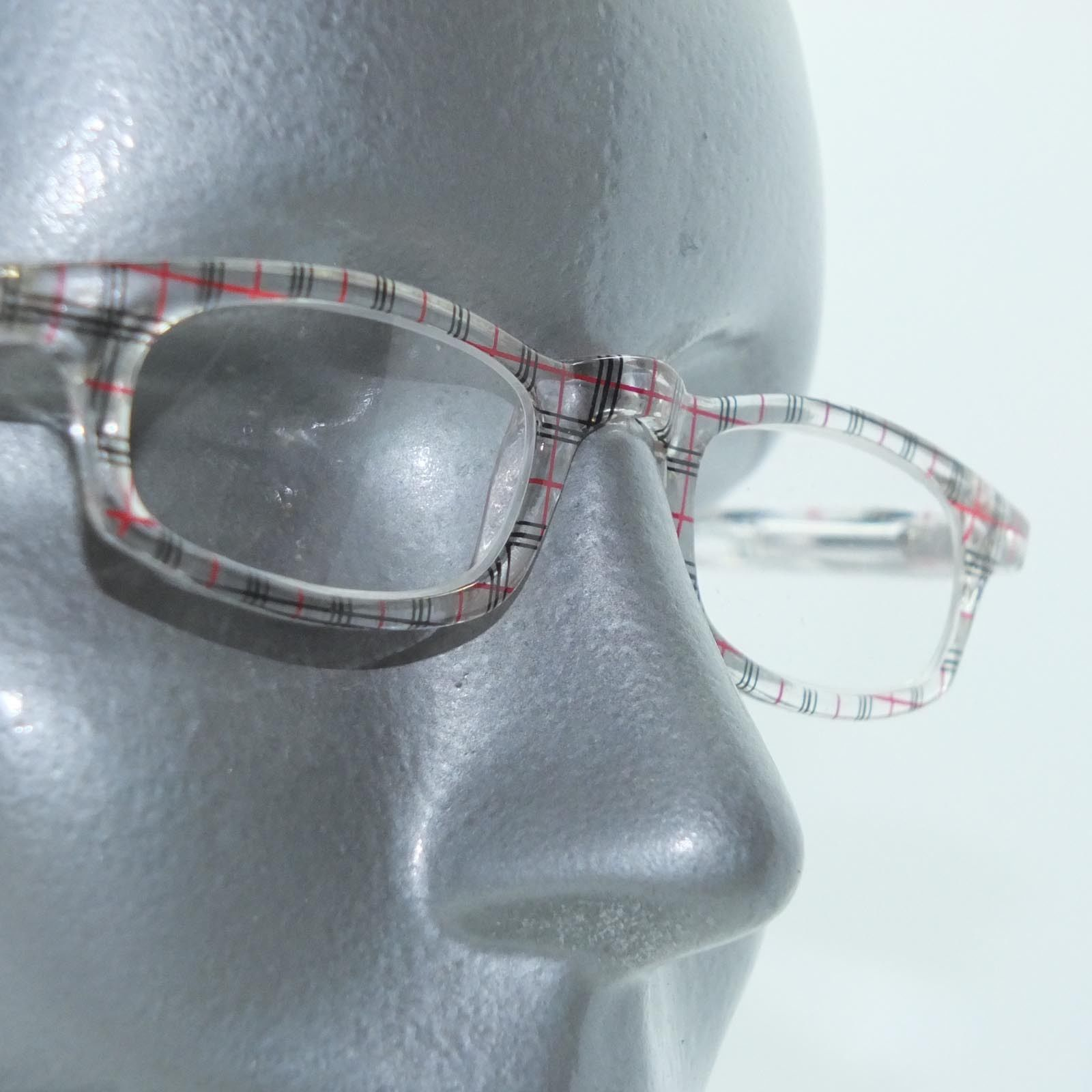 Primary image for Preppy Sweet Reading Glasses +2.75 Strength Plaid Pattern Red Black Clear