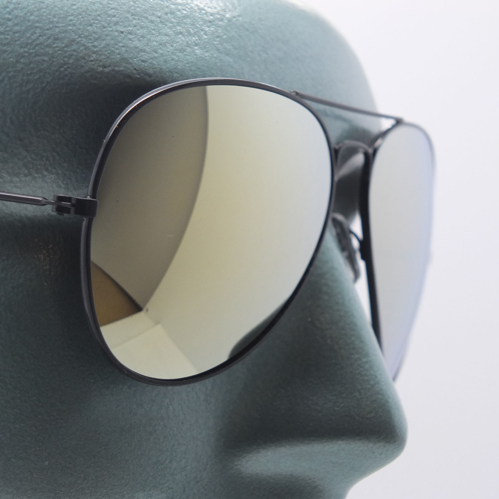 Primary image for Mirror Brown Lens Metal Black Frame Classic Aviator Sunglasses Sun Shades