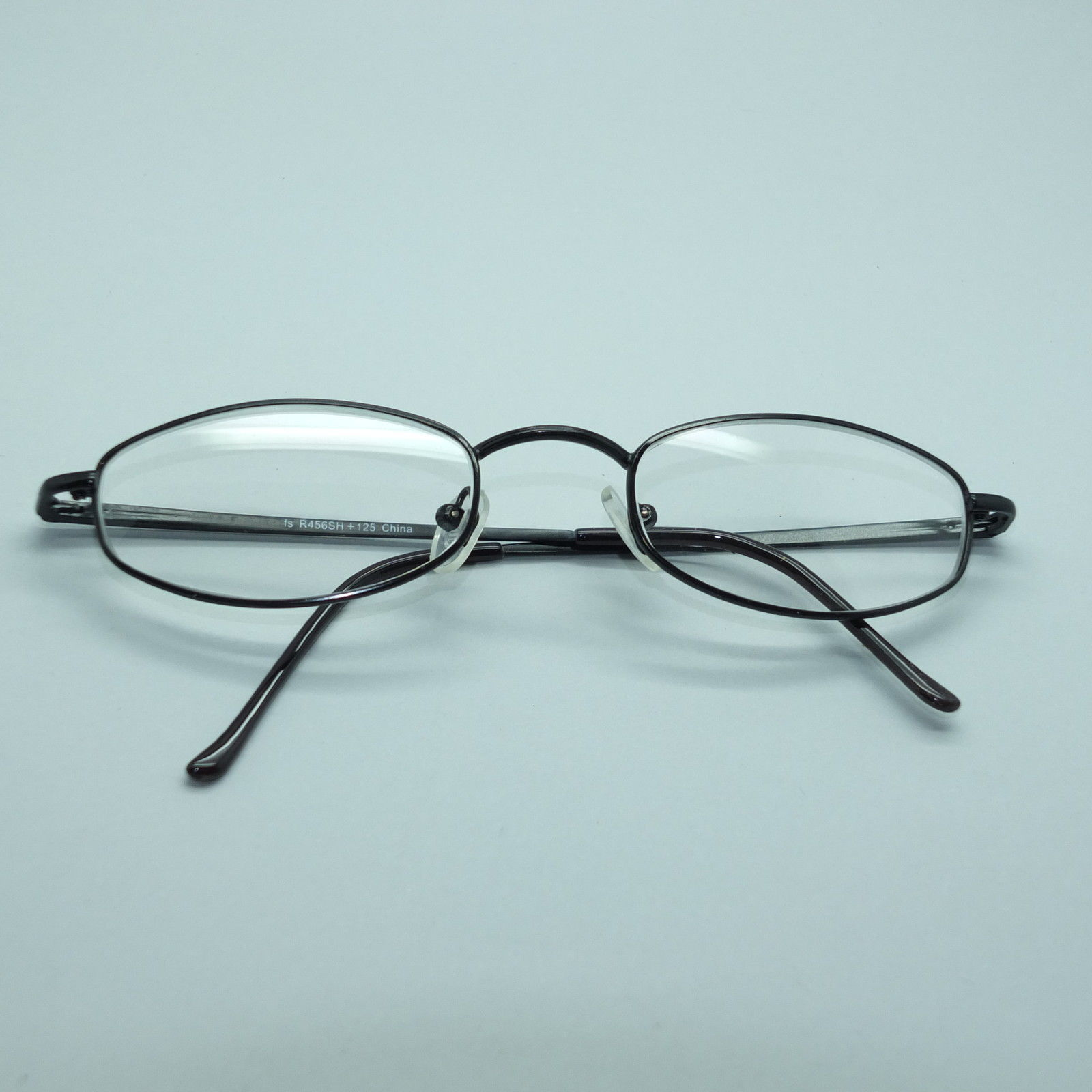 Gray Frame Reading Glasses : Reading Glasses Shiny Gray Wire Narrow Oval Metal Frame ...