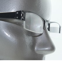 City Style Reading Glasses Black Metal Polished Straight Top Frame +1.50 - $22.00