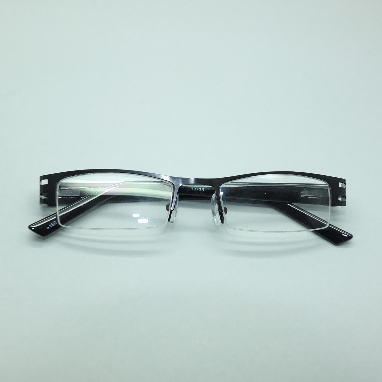 City Style Reading Glasses Black Metal Polished Straight Top Frame +1.50