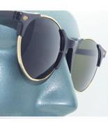 Oversize 1950's Retro Vintage Style Sunglasses Top Black Gold Frame Gree... - $22.00
