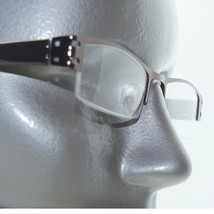 City Style Reading Glasses Gunmetal Gray Metal Polished Straight Top Frame +1.75 - $24.00