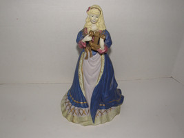 "VINTAGE BEAUTIFUL PRINCESS PLAYING HARP MUSICAL CERAMIC FIGURINE 10.5"" TALL - $10.39"