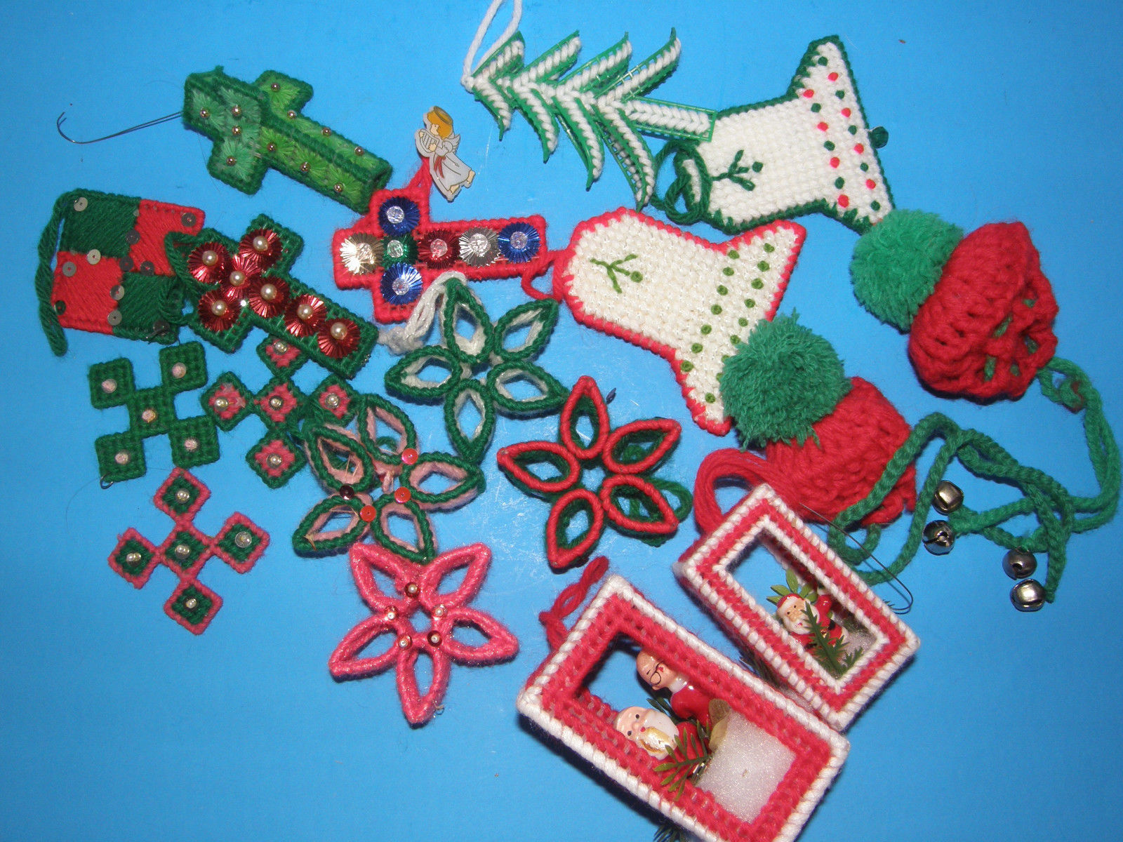 Primary image for ASSORTMENT 0F 18 HANDMADE  CHRISTMAS TREE ORNAMENTS-BELLS, STARS, CROSSES, ETC.