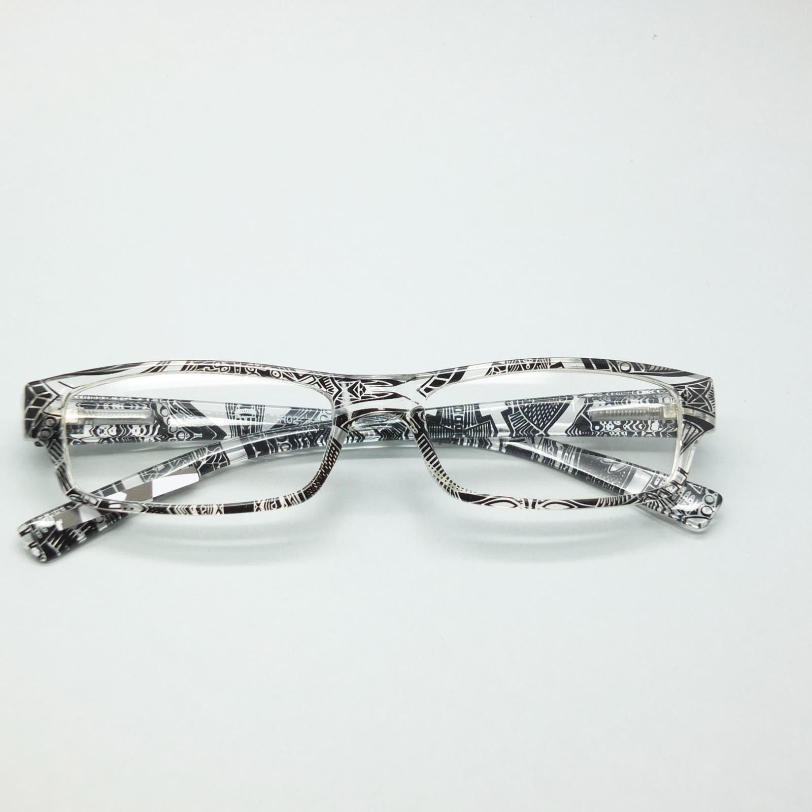 Reading Glasses Sharp Ink Style Tattoo Graffiti Frame +3.50 Clear Black