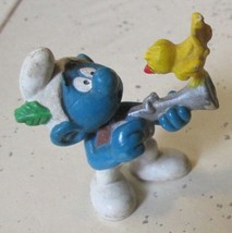 Vintage SMURFS Smurf Hunting Bird on gun mini PVC Figure toy - $5.99
