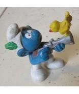 Vintage SMURFS Smurf Hunting Bird on gun mini PVC Figure toy - $5.99