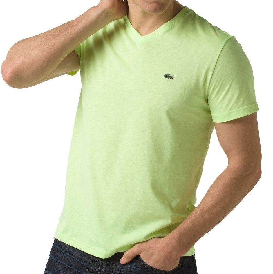 BRAND NEW LACOSTE MEN'S PREMIUM PIMA COTTON V-NECK SPORT SHIRT T-SHIRT MARZIPAN