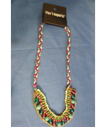 Pier 1 Imports New Braided Bead Red Green Blue Necklace - $12.95