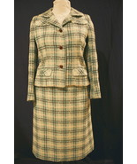 Vintage Green, Brown and Beige 2-Piece Spring Skirt Suit - $72.99