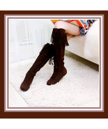 Tassel Fringe Suede Coffee/Brown Leather Lace Up Knee High Moccasin Trail Boots - $54.95