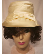 Vintage Off White Beige Satin Sateen Bridal Wedding Bucket Hat With Front Bow - $39.99
