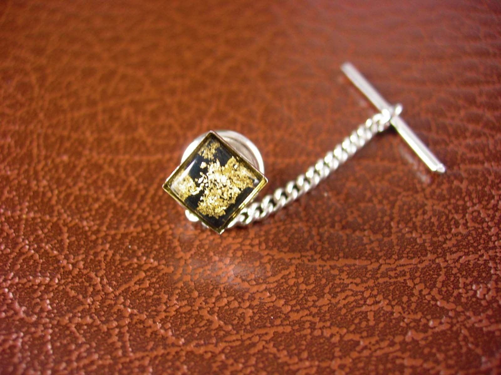 Primary image for GOLD & Silver Tie Tack Vintage Genuine Gold Flakes Men's Fine Jewelry