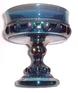 THUMBPRINT INDIANA GLASS BLUE CARNIVAL GLASS COMPOTE - $55.14
