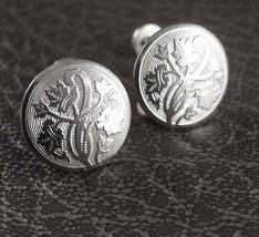 Vines and Curves Sterling Earrings Art Nouveau Silver Screw Back Engine Turned W - $65.00