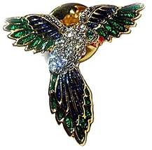 PARROT FASHION LAPEL PIN/ TIE TACK PIN w/ GENUI... - $11.99