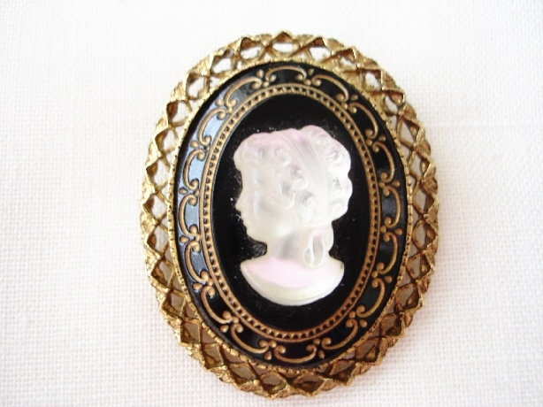 Vintage Black Glass, Frost Lucite Cameo Goldtone Brooch