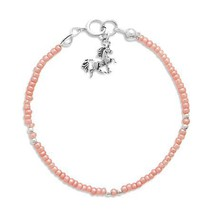 "Child's 5"" Pink Seed Bracelet with Sterling Silver Unicorn Charm - $21.97"