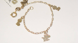 "KID'S 18K SKILLUS GOLD 5-1/2"" KITTEN & PUPPIES CHARM BRACELET, AGES 3 TO 7 - $14.99"