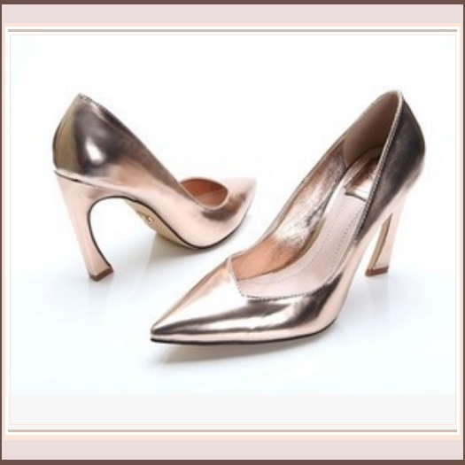 "Metallic Patent Leather Hook Heel Pointed Toe 3"" Slingback Fashion Wedding Pumps"