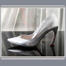"Metallic Patent Leather Hook Heel Pointed Toe 3"" Slingback Fashion Wedding Pumps image 2"
