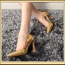 "Metallic Patent Leather Hook Heel Pointed Toe 3"" Slingback Fashion Wedding Pumps image 3"