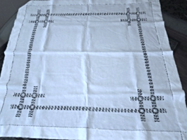 "Antique Tablecloth Fine White Linen, Cut Work / Drawn Work approx 35"" #4579 - $21.99"
