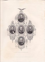 An Original 1867 Engraving  of Five Union Naval Commanders, nice - $12.99