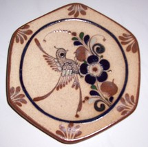 TONALA MEXICAN ORNATE BIRD ART POTTERY DISPLAY PLATE - $64.89