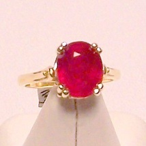 Genuine Ruby 14K Gold Ring 5.62ct Sz 7 MADE IN USA - $1,100.00