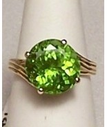 Peridot 14K Gold Ring 7.3 ct Genuine OOAK MADE ... - $849.00