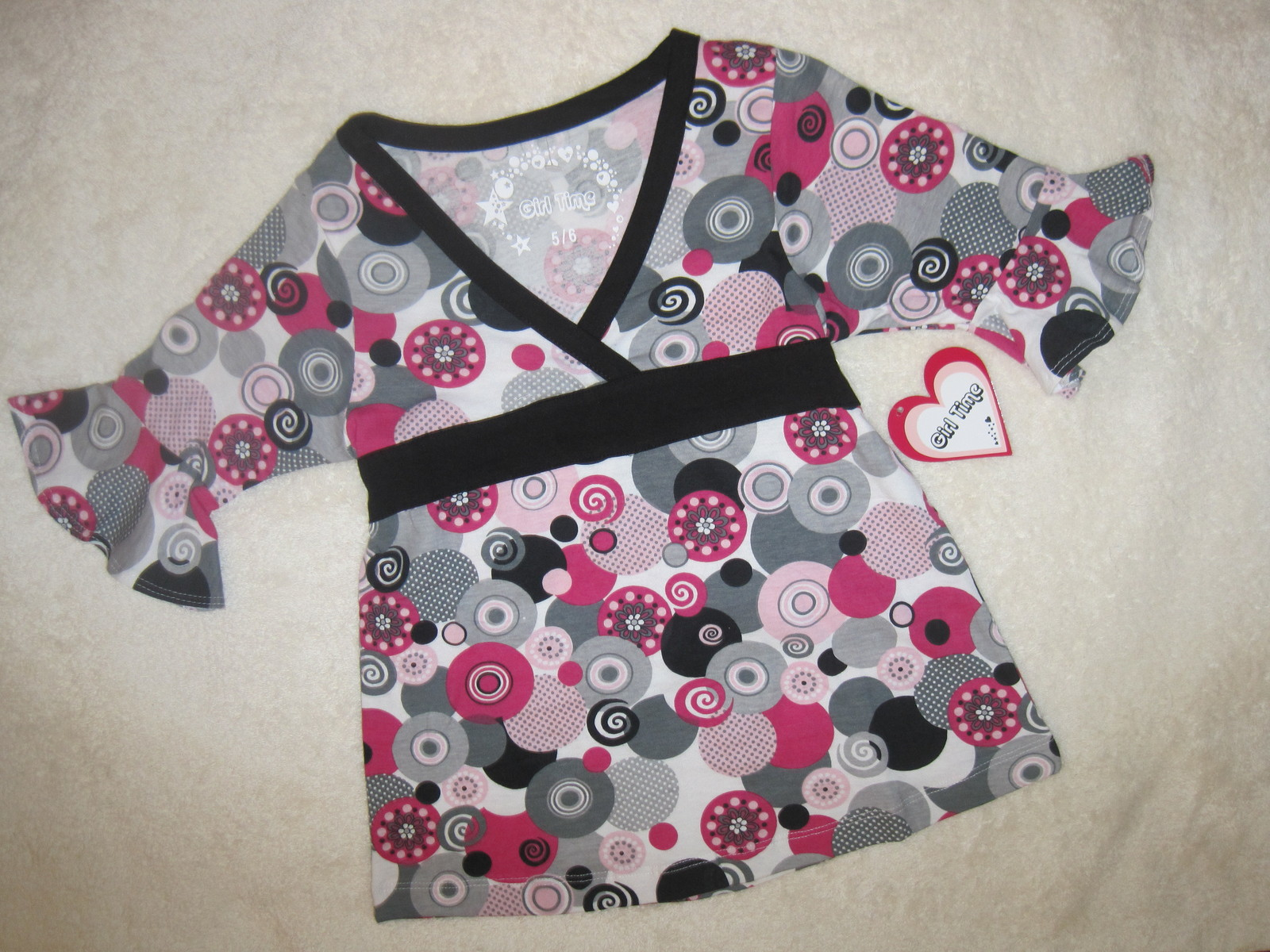 GIRLS 5-6 - Girl Time - Pink / Gray Pullover BLOUSE