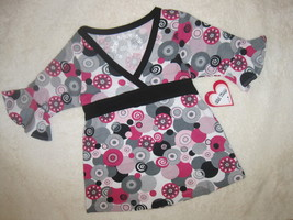 GIRLS 5-6 - Girl Time - Pink / Gray Pullover BLOUSE - $8.50