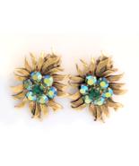 Vintage Selini Earrings - Aurora Borealis Floral Clip Ons Signed Selini - $35.00