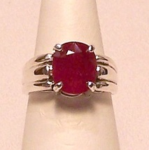Genuine Ruby Sterling Silver Ring 4.3 ct Sz 7 M... - $365.00
