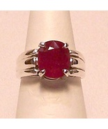 Genuine Ruby Sterling Silver Ring 4.3 ct Sz 7 MADE IN USA - $365.00
