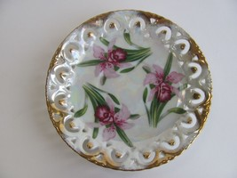Pink Iris Japanese Decorative Plate - $8.91