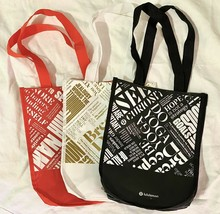 """3 Lululemon Shopping Bag Lunch Black, Gold, Red Small 9"""" x 12"""" Reusable ... - $14.84"""