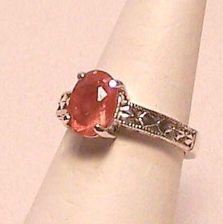 Oregon Sunstone Sterling Silver Ring 1.7 ct Sz 6.5 MADE IN USA