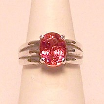 Pink Tourmaline Sterling Silver Ring 3.0 ct Sz ... - $239.00