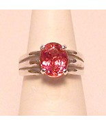 Pink Tourmaline Sterling Silver Ring 3.0 ct Sz 7 MADE IN USA - $239.00
