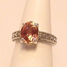Pink Tourmaline Sterling Silver Ring 3.2 ct Sz 6.5 MADE IN USA - $225.00