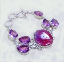 Vintage, Adorable Solar Quartz and Pink Quartz Bracelet, 925 Silver Overlay - $26.00